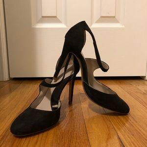 Black cross-over strap Zara Suede Stiletto Heel